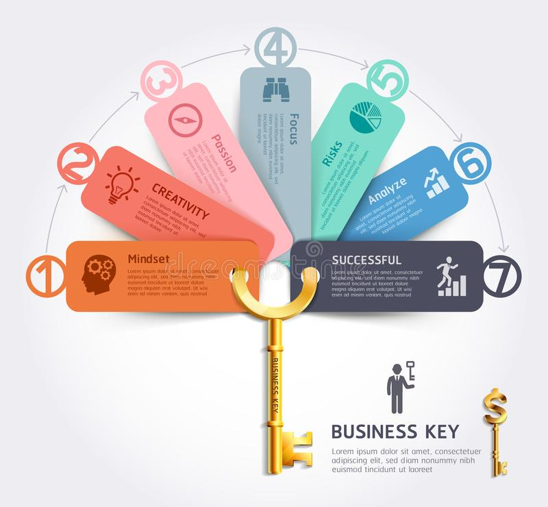 Geschäftsschlüsselkonzept infographics Designschablone lizenzfreie abbildung