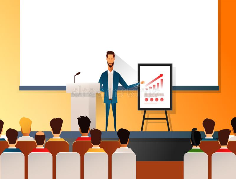 Geschäftsseminarsprecher, der Darstellung und Berufsausbildung über Marketing, Verkäufe und E-Commerce tut Flacher Vektor vektor abbildung