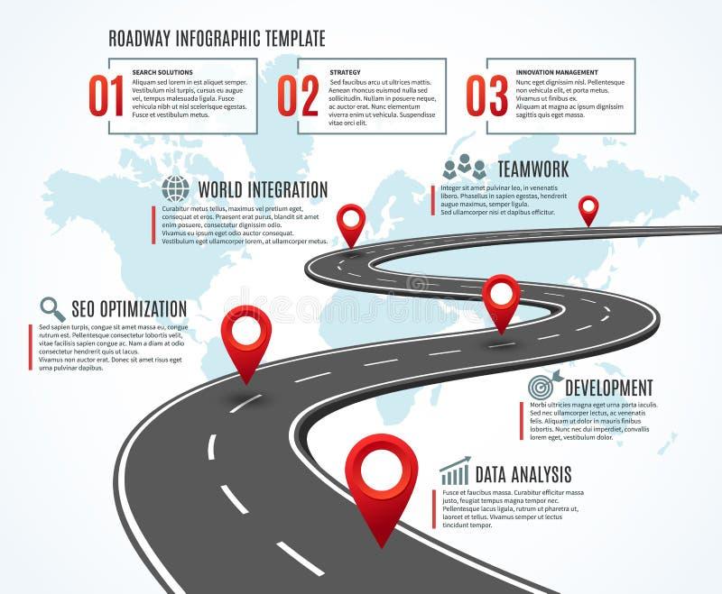 GeschäftsStraßenkarte Strategiezeitachse mit Meilensteinen, Weise zum Erfolg Arbeitsfluß, Planungsweg infographic vektor abbildung