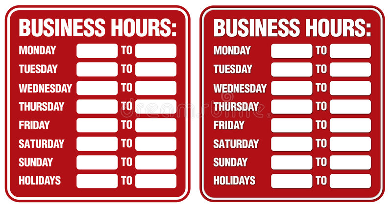 Geschäftsstunden stockbilder