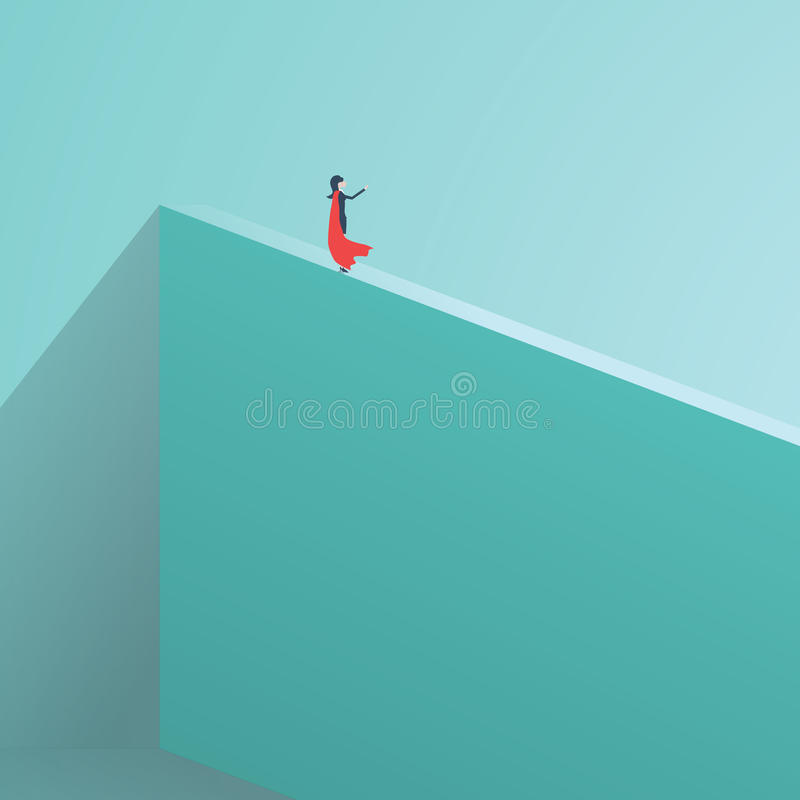 Geschäftssuperheldgeschäftsfrau, die auf hoher Wand steht Symbol des Geschäftsmutes, Tapferkeit, furchtlos, Energie Symbol von lizenzfreie abbildung
