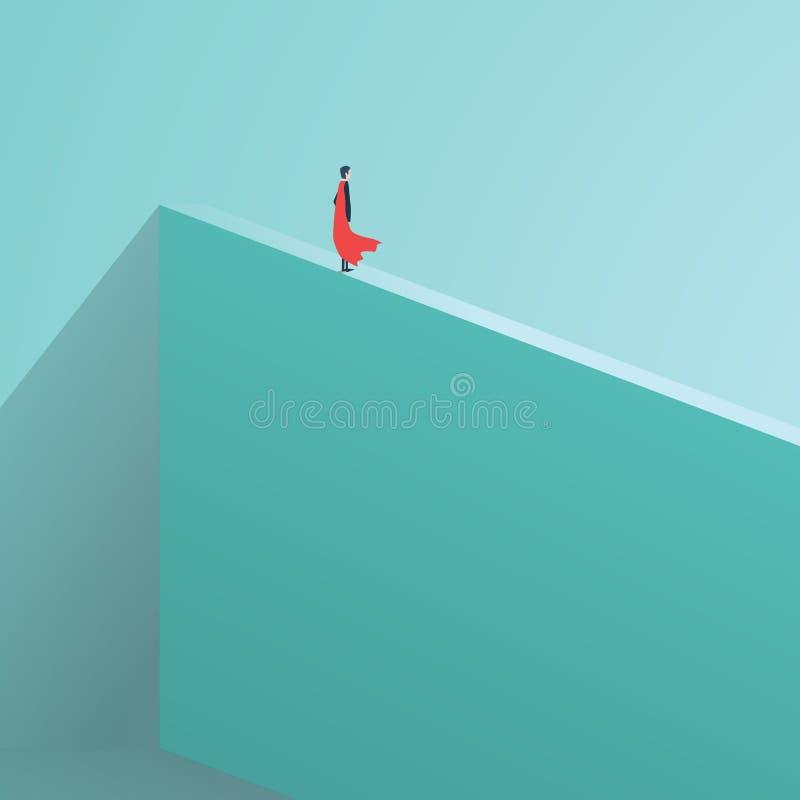 Geschäftssuperheldgeschäftsmann, der auf hoher Wand steht Symbol des Geschäftsmutes, Tapferkeit, furchtlos, Energie lizenzfreie abbildung