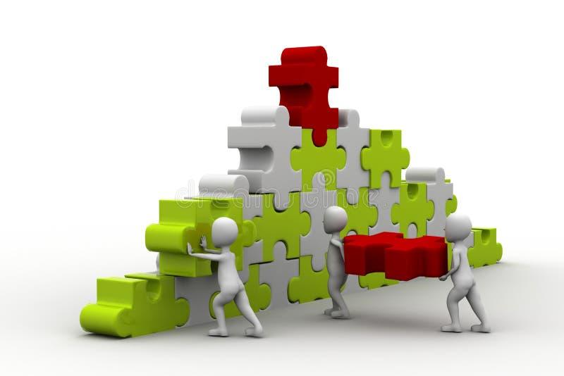 Geschäftsteam-Arbeitsgebäude ein Puzzlespiel