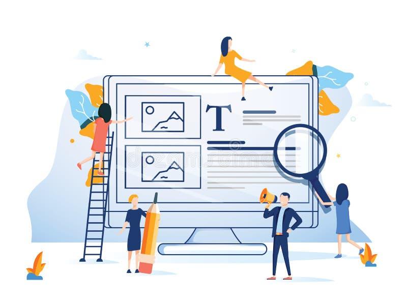 Geschäftsteam, das einer Website flache Entwurfsart bunte Illustration darstellt Hintergrundcomputerinternet-Technologie stock abbildung