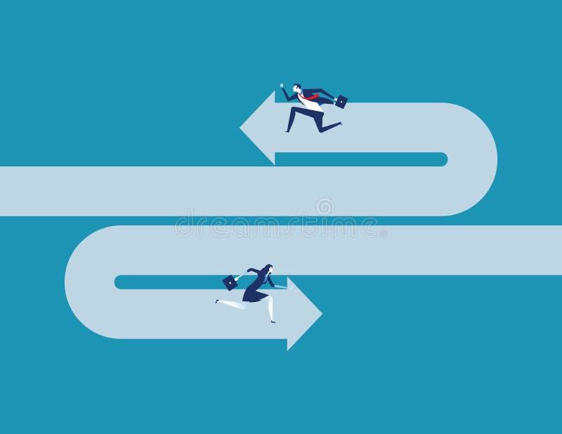Geschäftsteam, das gegenüber von Richtung läuft Konzeptgesch?fts-Vektorillustration stock abbildung