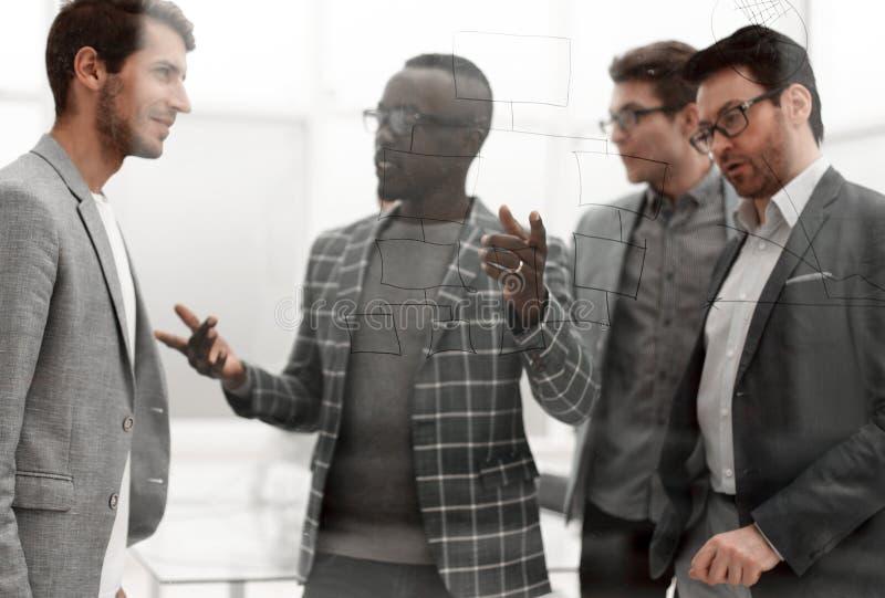 Geschäftsteam, das Ideen vermarktend sich bespricht stockbilder