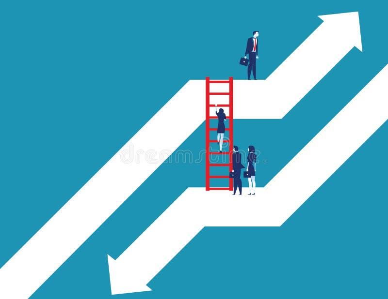 Geschäftsteam, das sich nach unten bis zum Wachstum vom Diagramm bewegt Konzeptgesch?fts-Vektorillustration Flache Designart stock abbildung