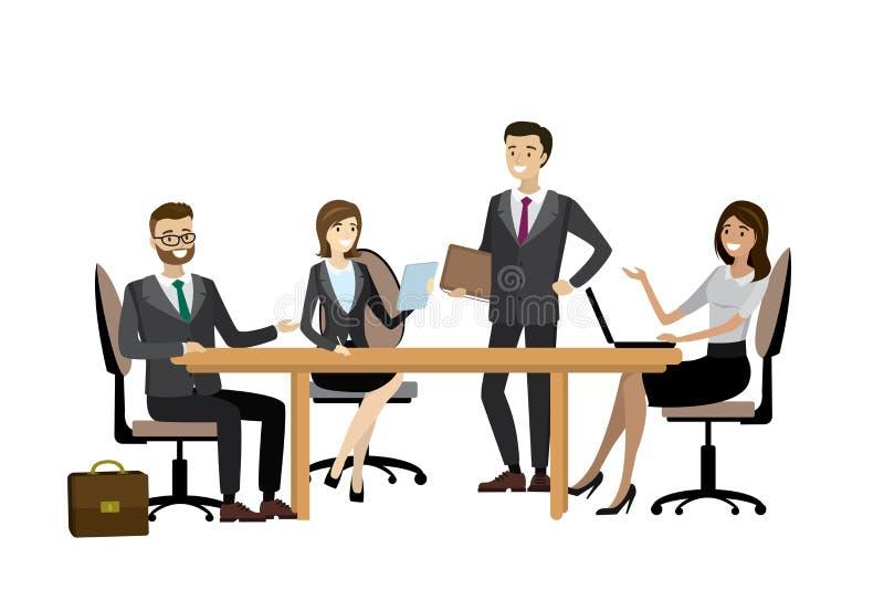 Geschäftsteam, das zusammen im Büro gedanklich löst stock abbildung