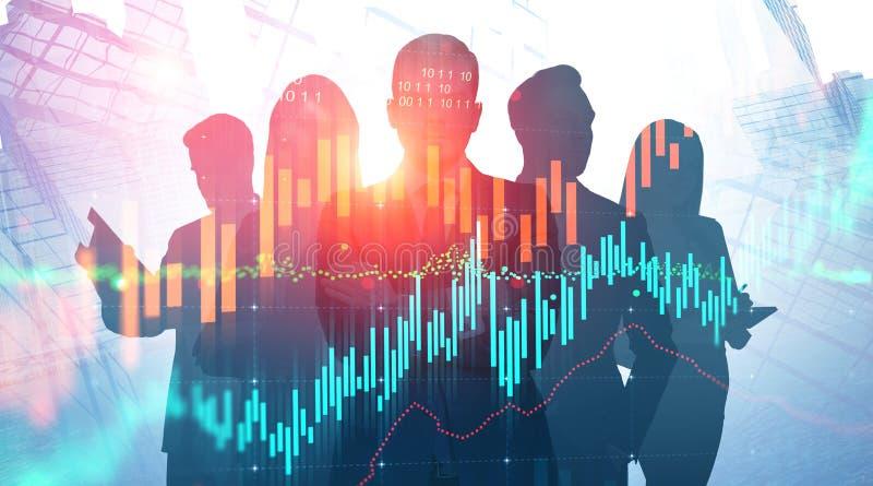 Geschäftsteam in der abstrakten Stadt, virtuelles Diagramm stock abbildung