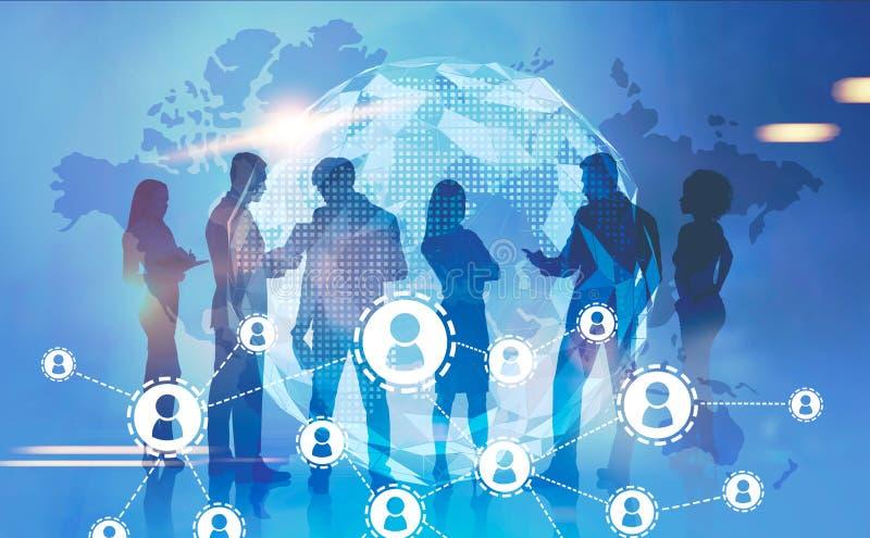 Geschäftsteam in der globalen Welt, Netz lizenzfreie abbildung