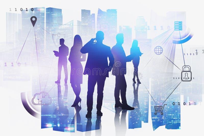 Geschäftsteam in der Stadt, Cloud-Computing lizenzfreies stockfoto