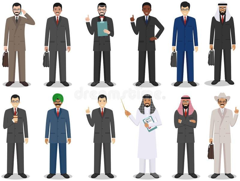 Geschäftsteam- und -teamwork-Konzept Satz der ausführlichen Illustration der Geschäftsmänner, die in den verschiedenen Positionen vektor abbildung