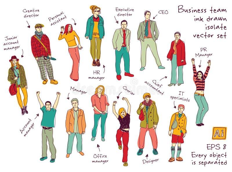 Geschäftsteambeitrags- und -charaktertintenfarbe lokalisieren Zahlen stock abbildung