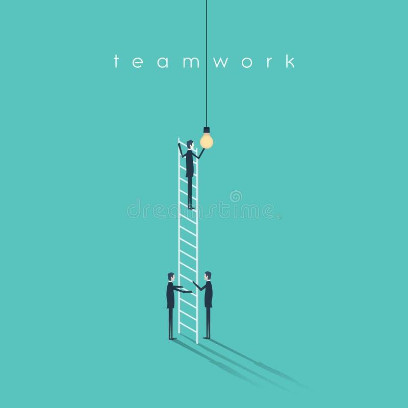 Geschäftsteamwork-Konzept mit den Geschäftsmännern, die Glühlampe ändern Erfolgs-, Kreativitäts- und Zusammenarbeitsvektorsymbol vektor abbildung