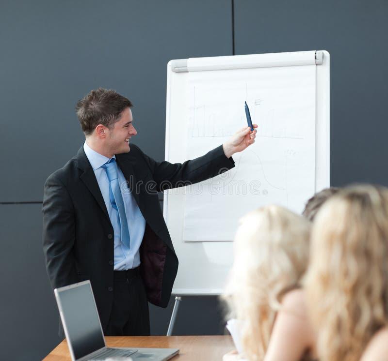 Geschäftsteamwork mit dem Mann, der Darstellung gibt stockfotos