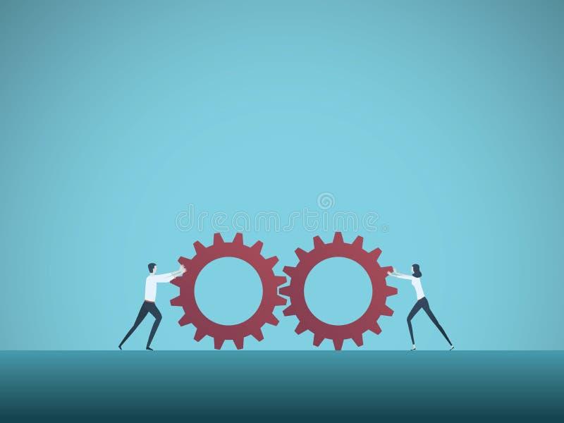 Geschäftsteamwork-Vektorkonzept mit dem Geschäftsmann und Geschäftsfrau, die zusammen Gänge drücken Symbol von Zusammenarbeit lizenzfreie abbildung