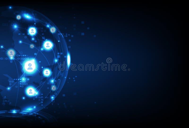 Geschäftstechnologie, LeuteKommunikationsnetzverbindung, Hintergrund-Vektorillustration des Planeten glühende zukünftige abstrakt lizenzfreie abbildung
