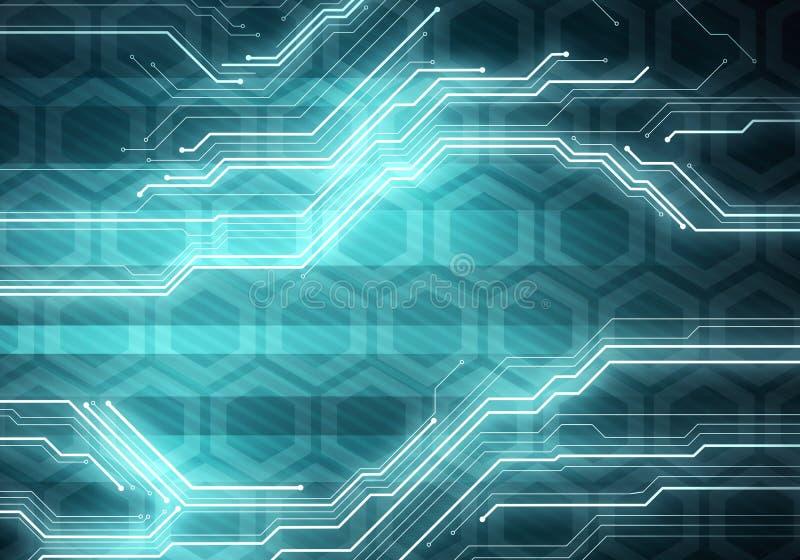 Geschäftstechnologiebegriffsbildchip auf sechseckigem Hintergrund lizenzfreie abbildung