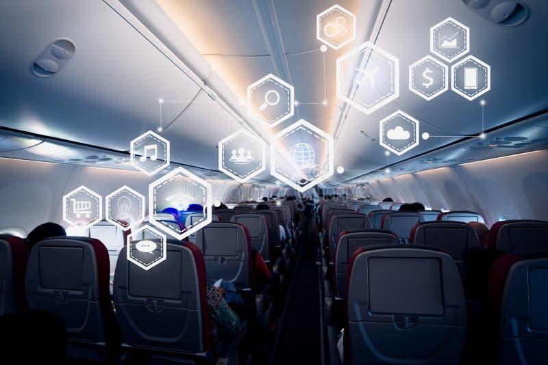 Geschäftstechnologiekonzept auf Flugzeug stockfoto