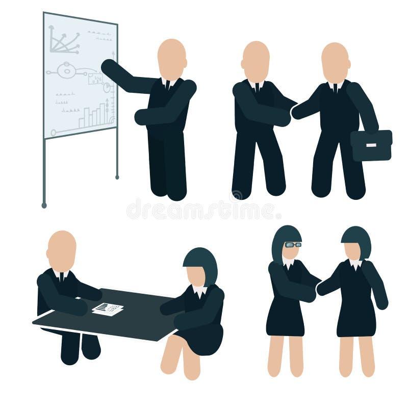 Geschäftsteilhaberschaft Geschäftstreffen-Illustration Farbflache Vektorillustration auf weißem Hintergrund vektor abbildung
