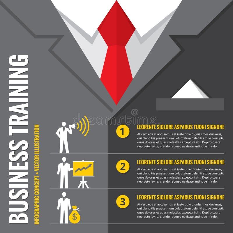 Geschäftstraining - infographic Vektorillustration Geschäftsmann - infographic Vektorkonzept Infographic Konzept der Büroanzüge stock abbildung