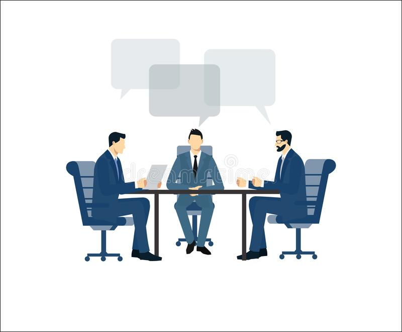 Geschäftstreffen, einen Vertrag unterzeichnend Geschäftsmänner in den Anzügen sitzen an einem Tisch im Büro Geschäftstreffen in lizenzfreie abbildung