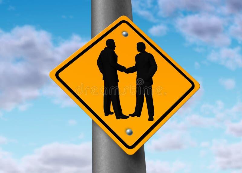 Geschäftstreffen-Handerschütterungvereinbarungs-Abkommenzeichen lizenzfreie abbildung