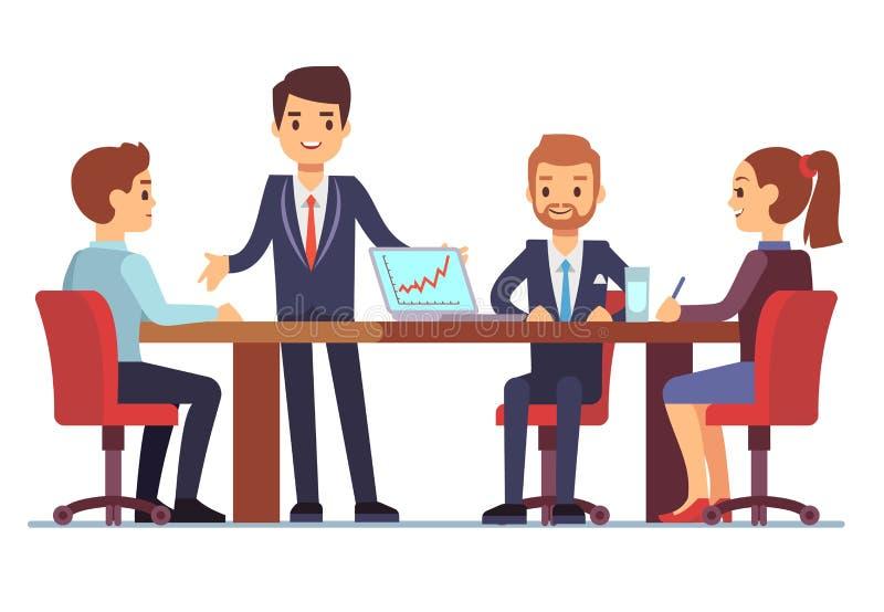 Geschäftstreffen im Büro am Konferenztische mit Unterhaltungsgeschäftsmännern und Geschäftsfrauen vector Illustration vektor abbildung
