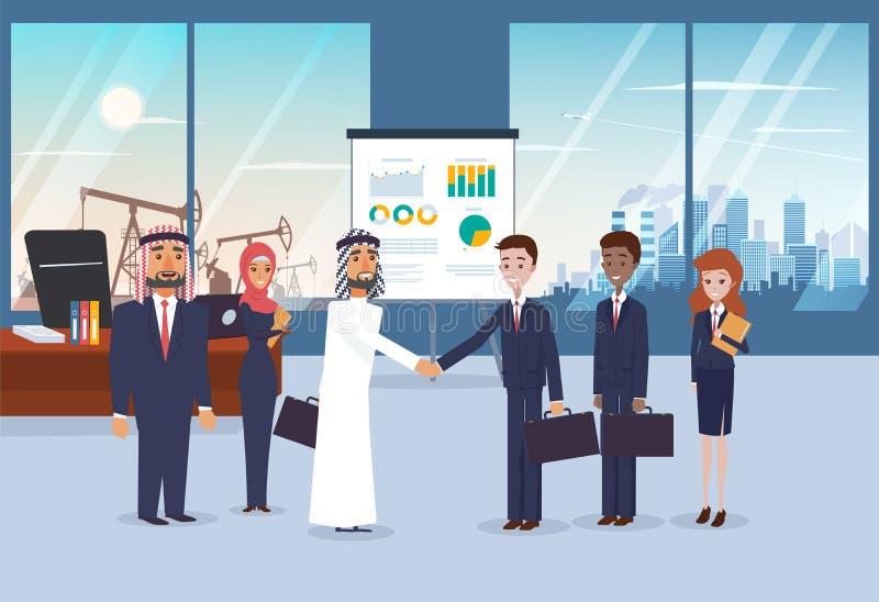 Geschäftstreffen mit arabischen Partnern im modernen Büro Stadtbild und Wüste mit Ölpumpe auf dem Hintergrund stock abbildung