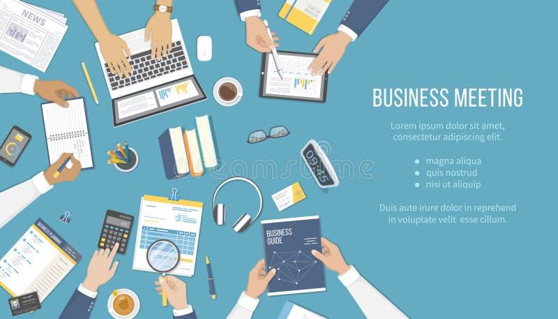 Geschäftstreffen und Brainstorming Büroteamwork-Konzept mit Leuten um die Tabelle Analyse, Management, planend vektor abbildung