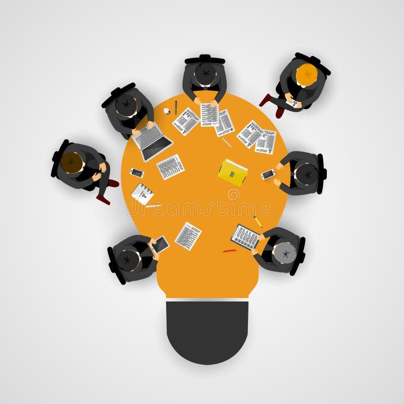 Geschäftstreffen und Brainstorming Idee und Geschäftskonzept für Teamwork Infographic-Schablone mit Leuten, Team und Glühlampe lizenzfreie abbildung