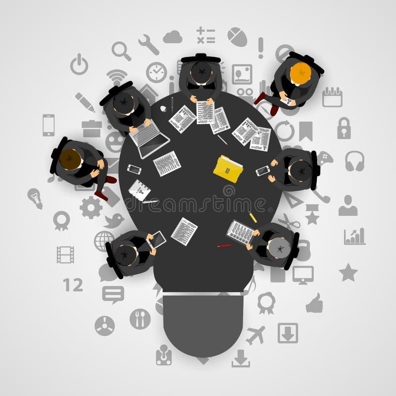 Geschäftstreffen und Brainstorming Idee und Geschäftskonzept für Teamwork Infographic-Schablone mit Leuten, Team und Glühlampe stock abbildung