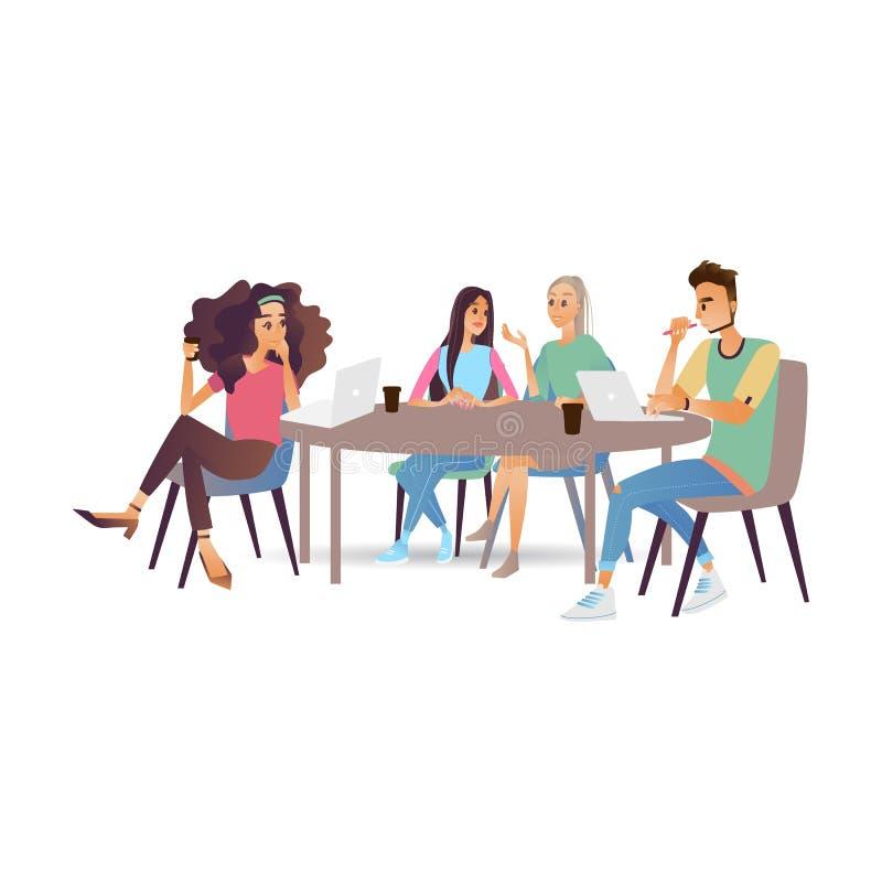 Geschäftstreffen-Vektorillustration mit den jungen Leuten, die Aufgaben am Konferenztische plaudern und besprechen stock abbildung