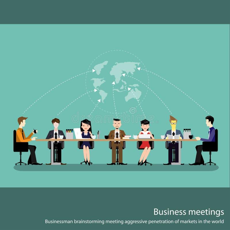 Geschäftstreffenkonzept mit den Leuten, die in der flachen Vektorillustration des Konferenzsaales plaudern vektor abbildung