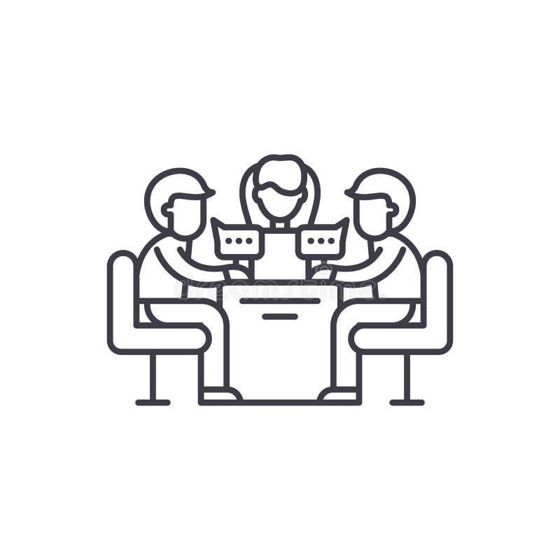 Geschäftstreffenlinie Ikonenkonzept Lineare Illustration des Geschäftstreffen-Vektors, Symbol, Zeichen lizenzfreie abbildung