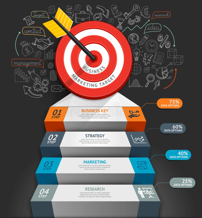 Geschäftstreppenhaus Begriffs-infographics lizenzfreie abbildung