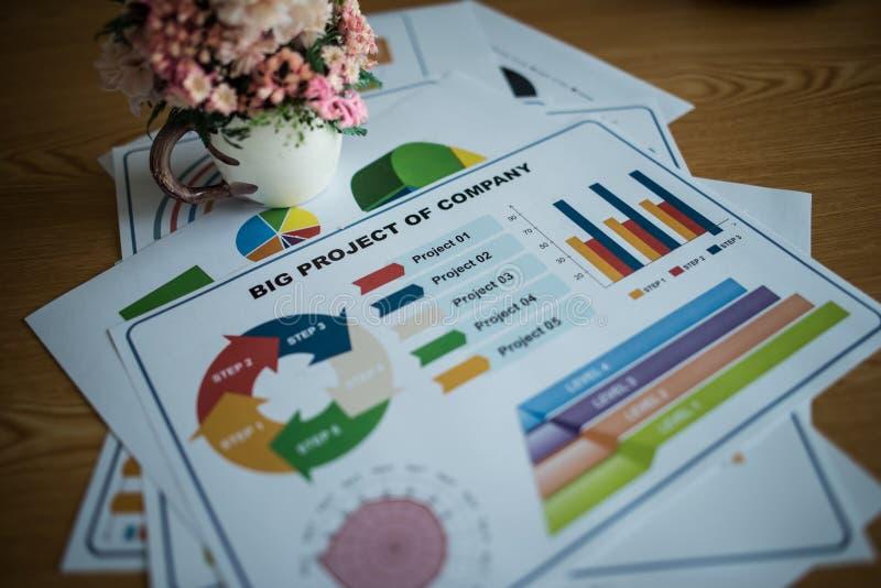 Geschäftsunterlagen über Papiere mit Zahlen und Diagrammen lizenzfreie stockbilder