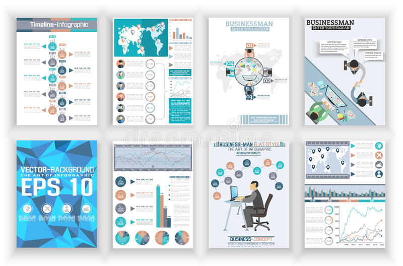 Geschäftsunterlagen-Fliegerplakat der Sammlung abstraktes und flache Ikonen der Karte stock abbildung