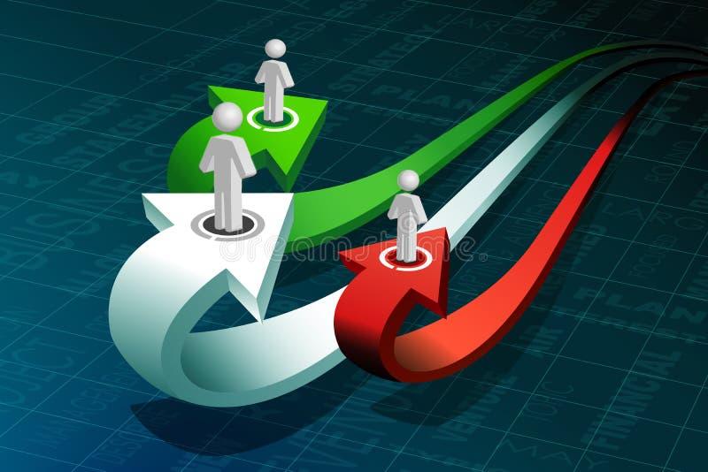 Geschäftsvölker auf Wachstumpfeil stock abbildung