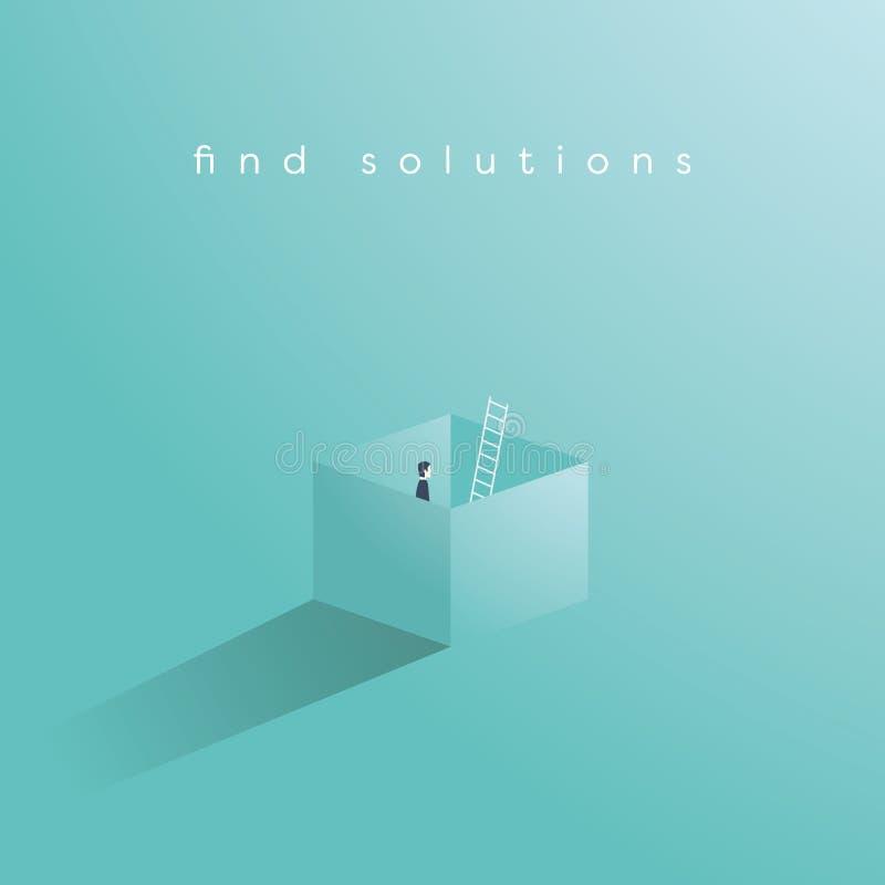Geschäftsvektorkonzept des Findens der Lösung durch das Denken außerhalb des Kastens Das kreative Lösen von Problemen, überwindt  stock abbildung