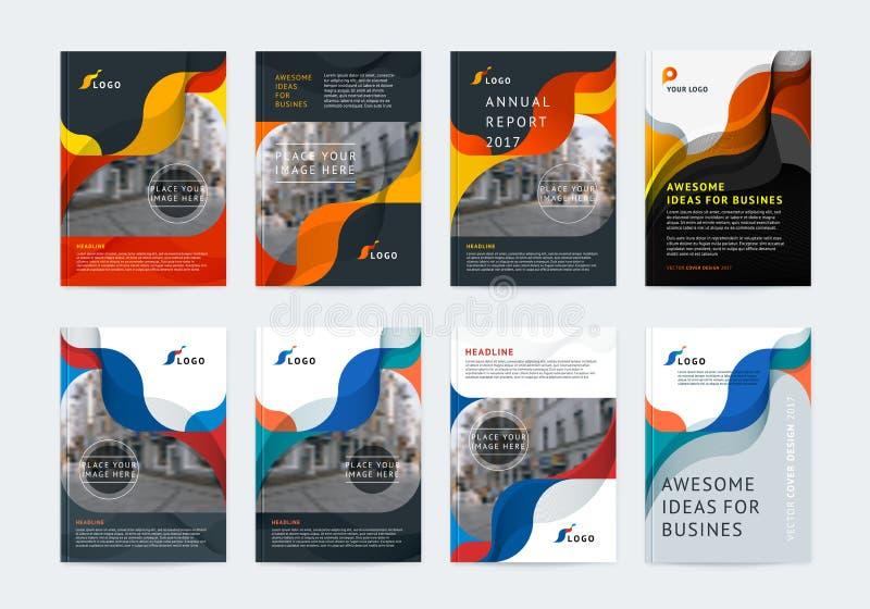 Geschäftsvektorsatz Broschürenschablonenplan, Abdeckungsdesign stock abbildung