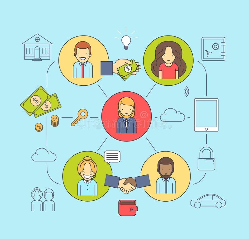 Geschäftsverbindungen und Kommunikationen Frau und Männer, die Kenntnisse nehmen lizenzfreie abbildung