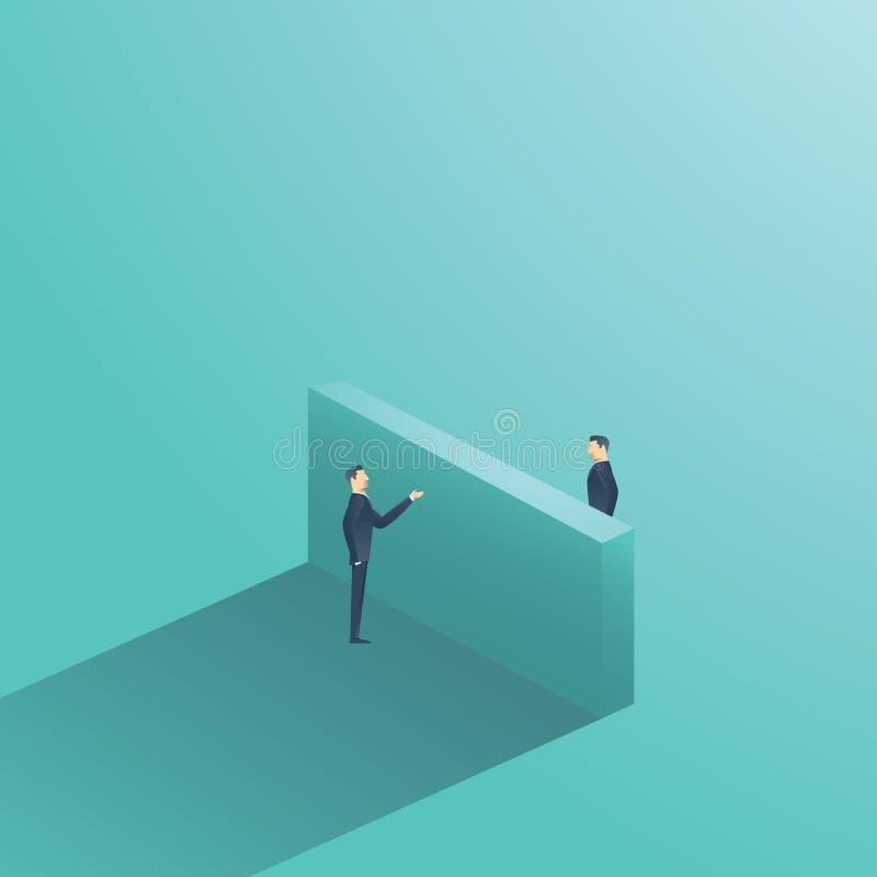 Geschäftsverhandlungsvektor-Konzeptillustration mit dem Geschäftsmann zwei, der Gespräch über der Wand hat Symbol von stock abbildung