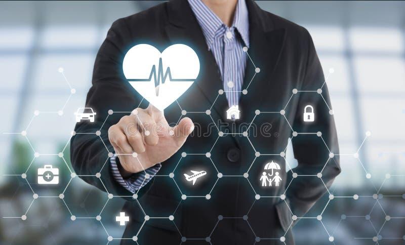 Geschäftsverkäufermittel-Handpressen-Knopfschutz healthà ¹ ƒ lizenzfreie stockbilder