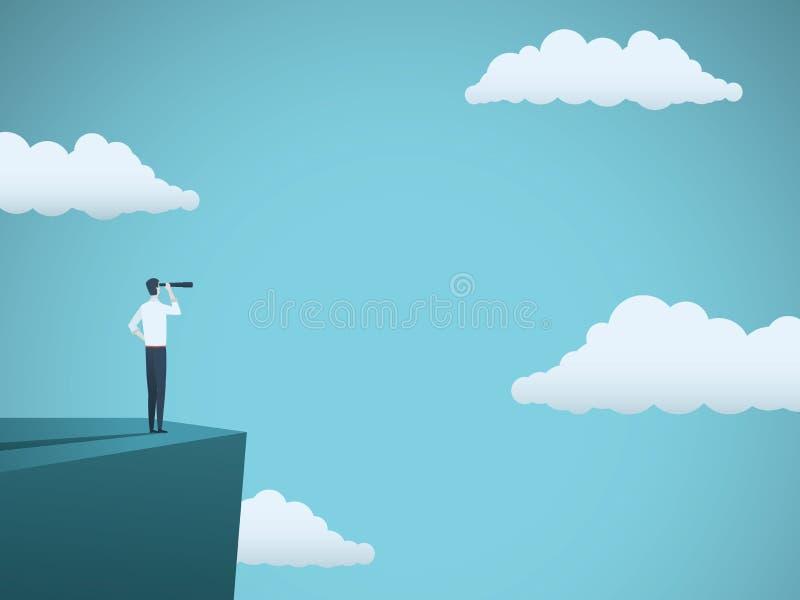 Geschäftsvision oder Visionärvektorkonzept mit dem Geschäftsmann, der auf Klippe mit Teleskop steht Symbol von succes vektor abbildung