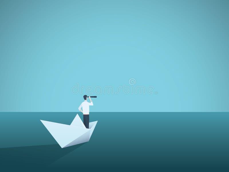 Geschäftsvision oder Visionärvektorkonzept mit Geschäftsfrau auf Papierboot mit Teleskop Symbol des Frauenführers lizenzfreie abbildung