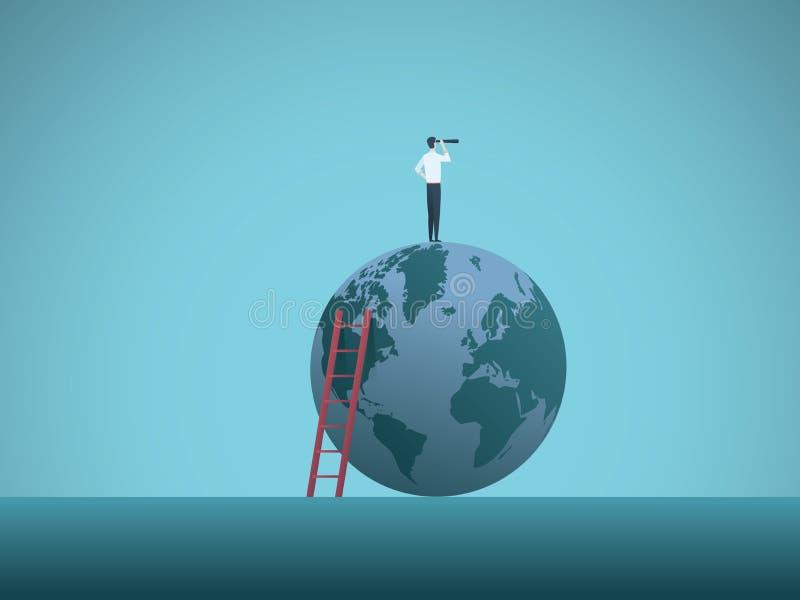 Geschäftsvisions-Vektorkonzept mit dem Geschäftsmann, der auf die Welt schaut durch Teleskop steht Symbol von Zukunft vektor abbildung