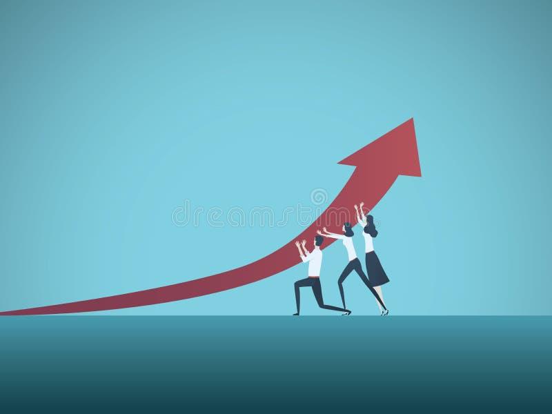 Geschäftswachstum und Erfolgsvektorkonzept Symbol der Führung, Vision, Fortschritt, Herausforderung lizenzfreie abbildung