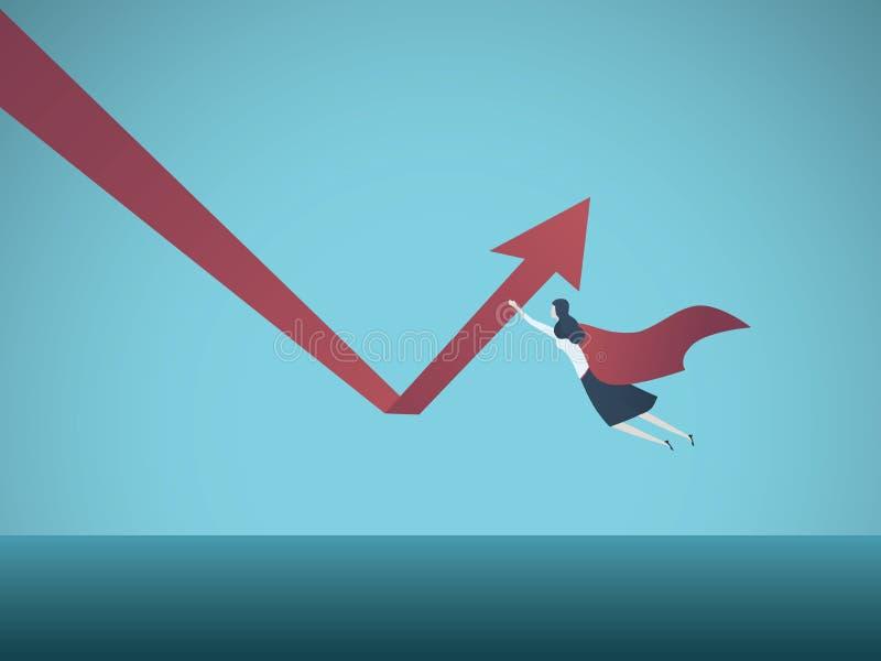 Geschäftswachstum und Wiederaufnahmevektorkonzept Geschäftsfrausuperheldfliegen und hochdrücken Pfeil Symbol des Erfolgs lizenzfreie abbildung