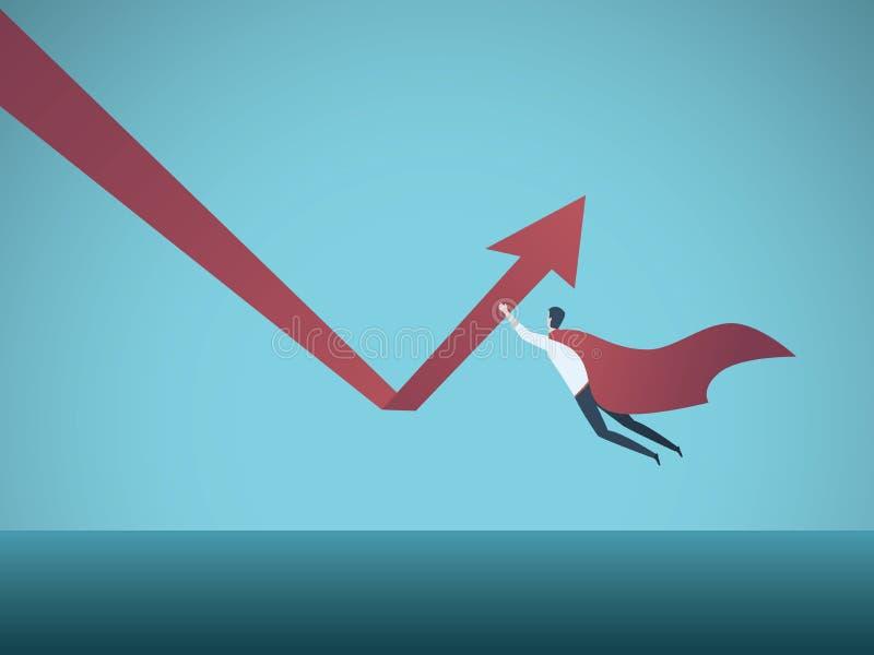 Geschäftswachstum und Wiederaufnahmevektorkonzept Geschäftsmannsuperheldfliegen und hochdrücken Pfeil Symbol des Erfolgs, Energie lizenzfreie abbildung